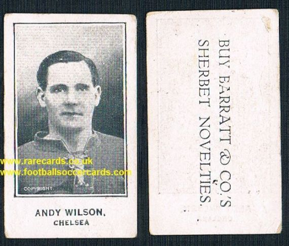 1926 Andy Wilson Middlesbrough Chelsea Barratt Sherbet Novelties card